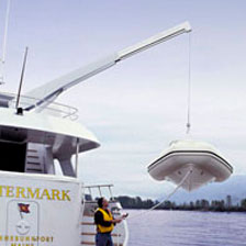 CT3500 yacht crane, mirror polished stainless boom extension, wireless controlled
